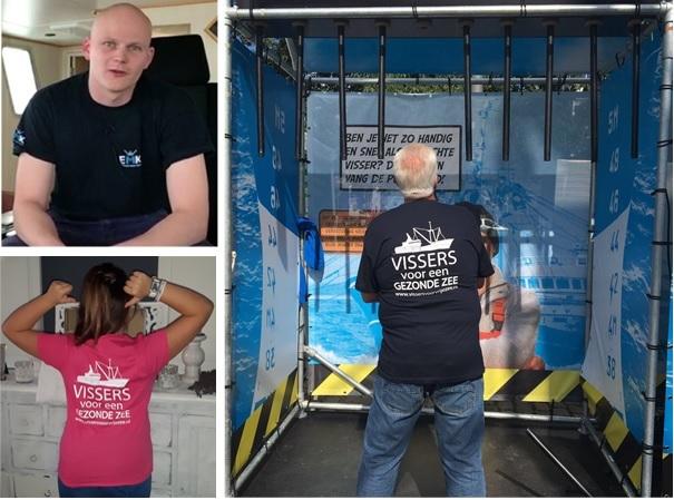EMK T-shirt 'vissers voor een gezonde zee' verkrijgbaar in donkerblauw en roze, maat 98-XXXL.