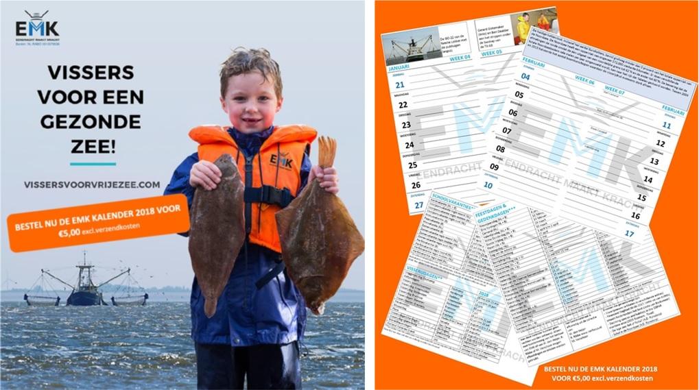Kalender 2018 'vissers voor een gezonde zee'. Met leuke weetjes en foto's. Zowel handig voor op de kotter als thuis!