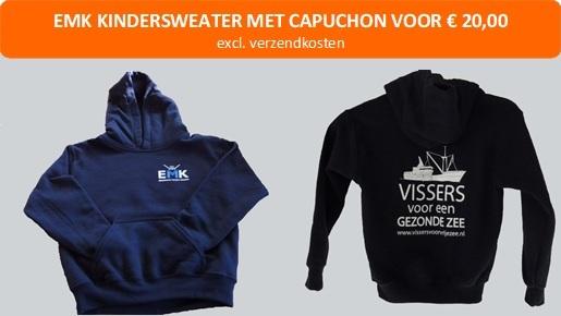 KINDERhoody (sweater met capuchon) 'vissers voor een gezonde zee'. Verkrijgbaar in donkerblauw, maat 98-164.
