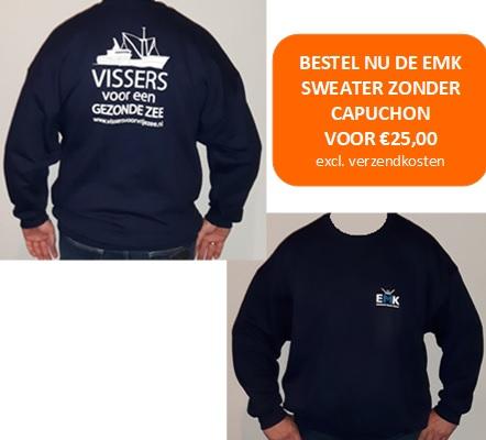 Sweater 'vissers voor een gezonde zee'. Verkrijgbaar in het donkerblauw, maat S-XXXL.